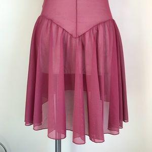 Vintage Dresses - Vintage sheer fuchsia high low slip dress